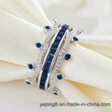 크라운 디자인 파란 사파이어 반지 - 001