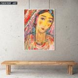 Pintura india amarilla de la lona del retrato de la mujer
