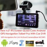 """2016 새로운 4.5 """" 이중 차 사진기 2CH 차 DVR 의 FM 전송기, WiFi 의 3G Dongle에서 G-4501 건설되는 854*480pixel IPS 스크린 인조 인간 6.0 정제 PCS 차 GPS 항법"""