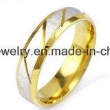 Shineme moda Joyería anillo de acero inoxidable chapado en oro (SSR2781)