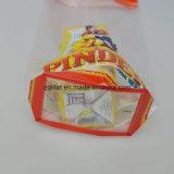 La bolsa de plástico transparente del cuadrado de la parte inferior plana de OPP con el bolso transparente duro de la tarjeta BOPP para el caramelo