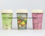 Diverse Kop van de Koffie van de Installatie van de Vezel van het Bamboe van de Kleur BPA de Vrije met de Houder van het Deksel en van het Silicone