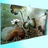 Pittura a olio moderna Handmade del loto della stagnola di oro (LH-700550)