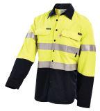 안녕 힘 사려깊은 작업복 3m 사려깊은 테이프를 가진 2벌의 음색 대조 색깔 안전 직원 획일한 면 교련 일 셔츠