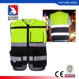 Classe 2 Fundo preto colete de segurança reflexivo de alta visibilidade para a cavalo ou ciclismo