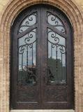 Quadratische oberste dekorative doppelte bearbeitetes Eisen-Haustür