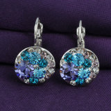 青いラインストーンの水晶合金のイヤリングクリップデザイン宝石類のイヤリング