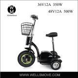 Самокат удобоподвижности Trike колеса Wellsmove 3 с мотором эпицентра деятельности 350W 500W