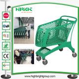 Supermarkt-volle Plastikeinkaufen-Laufkatze-Karre