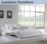 Schlafzimmer A021 weißes Leater Bett mit LED-Licht