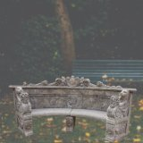 庭の装飾T-6867のための旧式な処置の高品質によって手切り分けられる大理石のベンチ
