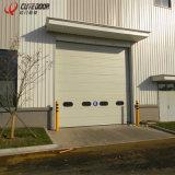 Дверь легкого входа подъема секционного промышленного поднимаясь с пешеходными дверями