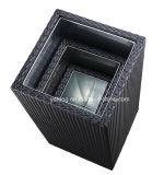 Moderno y muebles de exterior la maceta armazón de aluminio con tejidos de junco Maceta (YTG010)