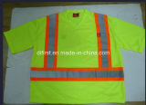Camisa de polo de la seguridad con la venda amonestadora y la funda larga