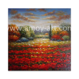 Rote Blumen-Bereich-Ölgemälde auf Segeltuch für Wand-Dekor