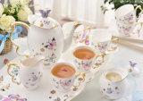 Conjunto de té de cerámica del café de la taza de café de China de hueso de la mariposa