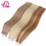 Prix de gros 12-28 pouces 100 % de cheveux humains Bleu Blanc invisible en double bande appelée Remytape hair extension