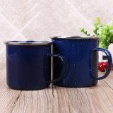 Personalizzare la tazza bianca della tazza di caffè dello smalto di marchio con l'orlo dell'acciaio inossidabile