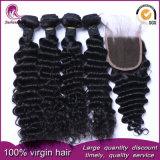 Верхняя сшивка закрытие Реми бразильского Virgin волос человека