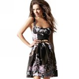 Correa de ventas en caliente de verano imprimir una línea de vestidos de damas