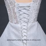 Robe de mariage Backless de lacet avec la longue robe de mariage sans manche de Tulle