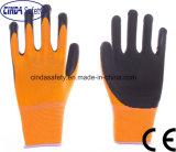 Cinda полиэстера с покрытием из пеноматериала из латекса безопасности рабочие перчатки