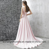 Vestido de noite longo do cetim cor-de-rosa luxuoso novo