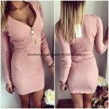 Пакета оболочки Bodycon втулки платья O-Шеи застежки -молнии платьев женщин Vestidos сексуальное связанное платье длиннего Hip