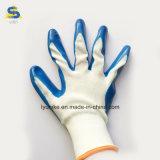Нитриловые бумага с покрытием полиэстер рабочие перчатки в синий цвет