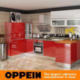 Lacca rossa moderna superiore di Oppein grande & armadi da cucina acrilici (OP15-L04)