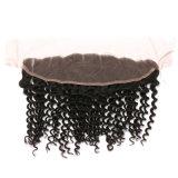 Toupee profundo de seda humano do cabelo da tira da onda do melhor laço natural humano brasileiro indiano do cabelo