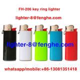 キーホルダーのキーホルダーのライターFh-206のリングが付いている小型使い捨て可能なガスのタバコのライター