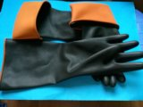 Hotsale plus industrielle noir et orange des gants en latex