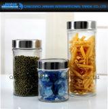 Runder Nahrungsmittelspeicher-Glasbehälter mit silberner Kappe