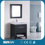 Governo di stanza da bagno di uso della casa di stile del pavimento di legno solido con lo specchio