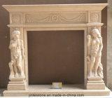 Surround камина мрамора & известняка каменного обрушения породы крытый