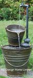 Look métal Seau jardin extérieur Polyresin Fontaine à eau W/VOYANT LED