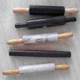 木のハンドルおよび受け台の/Blackの木製ベースが付いている大理石の圧延ピンとの黒い大理石の圧延Pin