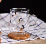De creatieve Mok van het Glas van het Patroon van de Pinguïn van de Kop van de Gift van de Kop van het Glas