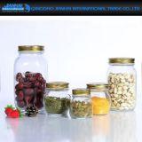 Bouteille en verre de fantaisie d'entreposage en conteneur de nourriture avec les couvercles colorés