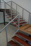Railing балкона для напольных перил кабеля нержавеющей стали шагов