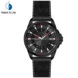 標準的なステンレス鋼の本革ストラップの男性用腕時計