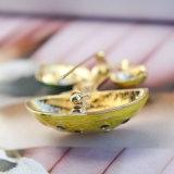 Joyería de la manera de los contactos y de las broches de la seta del caracol del esmalte del verde amarillo