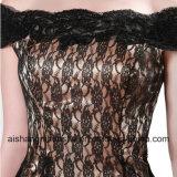 Robes de soirée noires de sirène de lacet outre de robe sexy de bal d'étudiants d'épaule