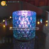 Sostenedor de vela de cristal azul a prueba de calor
