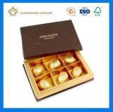 Fabricado en China el papel de embalaje de chocolate Caja de regalo con tapa (con la decoración de la correa de la cinta de opciones)
