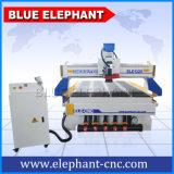 Puerta de madera profesional que hace el ranurador del CNC, elefante azul de los ranuradores del CNC, maquinaria 1325 del CNC con la rueda de mano