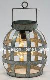 Ronda decorativos elegantes metais galvanizados Camping Lantern W/Lâmpada LED