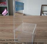 Cuadro de la donación de acrílico transparente de plástico con cartel
