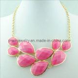 Aleación de zinc de la Moda de primavera joyas chapado en oro de /con incrustados de resina de color rosa con gota de agua Corazón Collar de forma redonda novia regalo (PN-120)